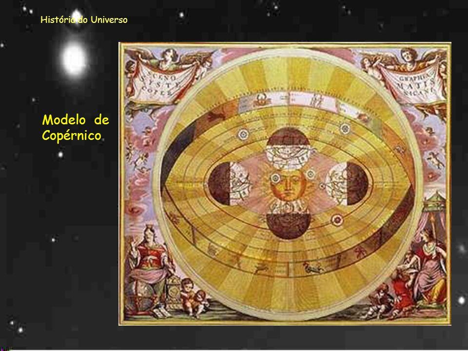 História do Universo CopérnicoCopérnico, em 1514, apresentou um novo modelo, mais simples. Para Copérnico o Sol estava imóvel no centro e eram os plan