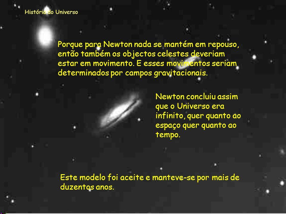 História do Universo As leis de Newton, formuladas há trezentos anos, ainda hoje são válidas e utilizadas para determinar a velocidade e a trajetória,