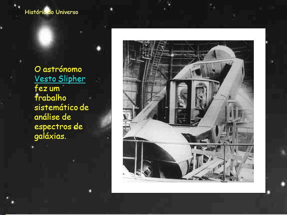 História do Universo Este resultado foi muito importante para o cálculo da velocidade e direção do movimento quer das estrelas quer das galáxias. O es