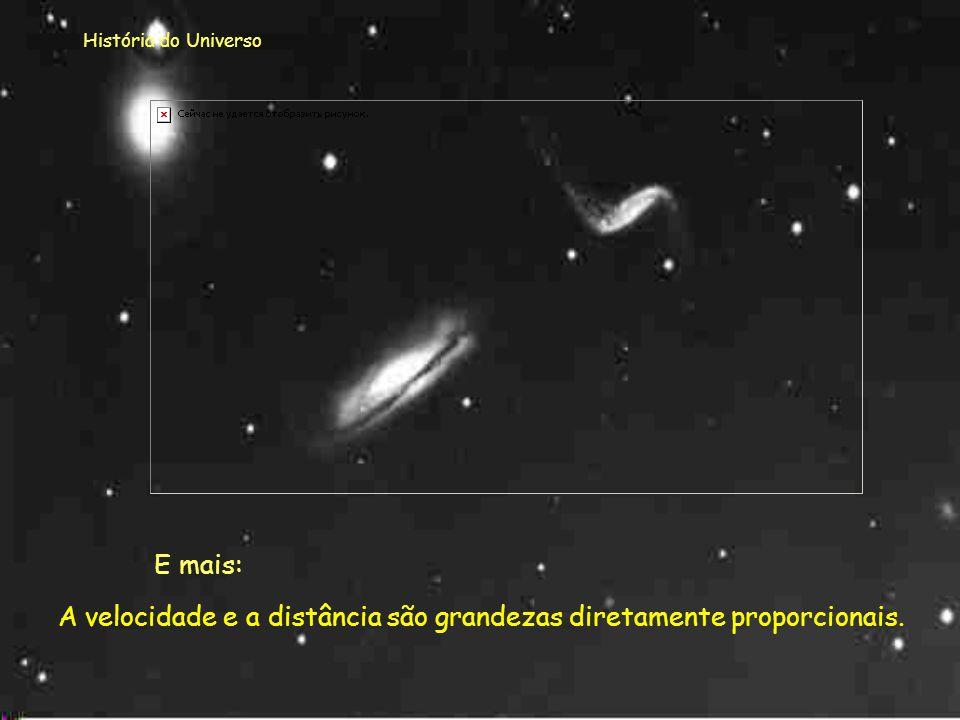 História do Universo Em 1929 Hubble determinou as distâncias a algumas galáxias e conjugando esse dado com o deslocamento para o vermelho (efeito de D