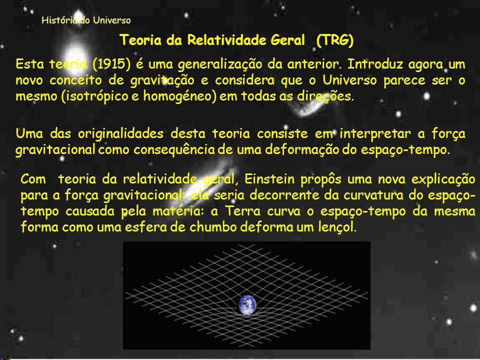 História do Universo TEORIAS DA RELATIVIDADE Estas teorias foram propostas por Albert Einstein.Albert Einstein Esta teoria propunha que a velocidade d