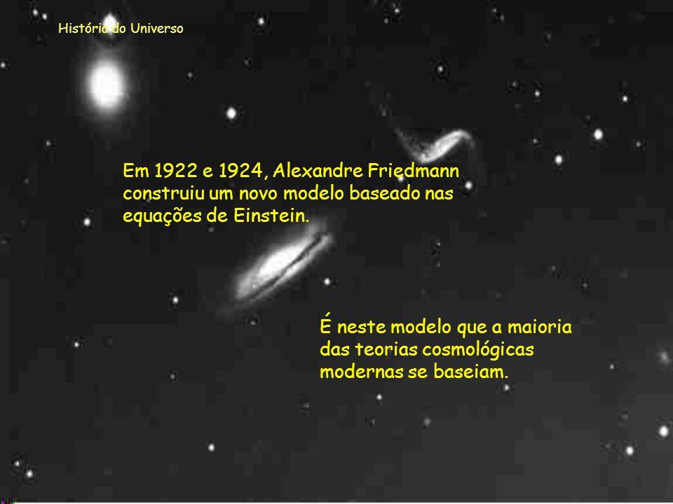 História do Universo Einstein criou um novo modelo para o Universo em que a matéria é criada a partir do vácuo e está continuamente a ser criada. O Un