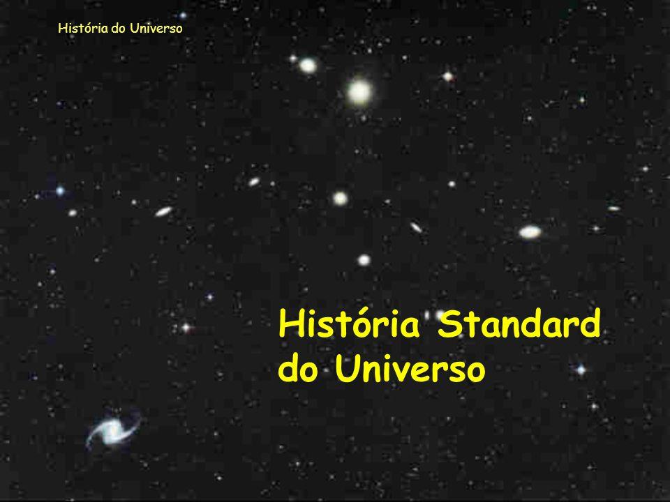 História do Universo Outros modelos surgiram, modelos que podemos agrupar em dois grandes grupos: - o modelo standard; - outros modelos. É a esses mod