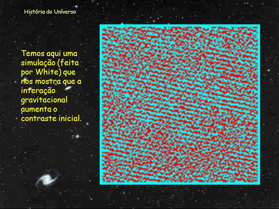 História do Universo Aqui temos um esquema de como se foi concentrando a matéria para permitir a formação de estrelas e galáxias. Porque a radiação de