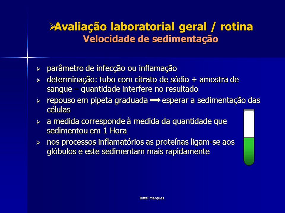 Batel Marques Avaliação laboratorial geral / rotina Velocidade de sedimentação Avaliação laboratorial geral / rotina Velocidade de sedimentação parâme
