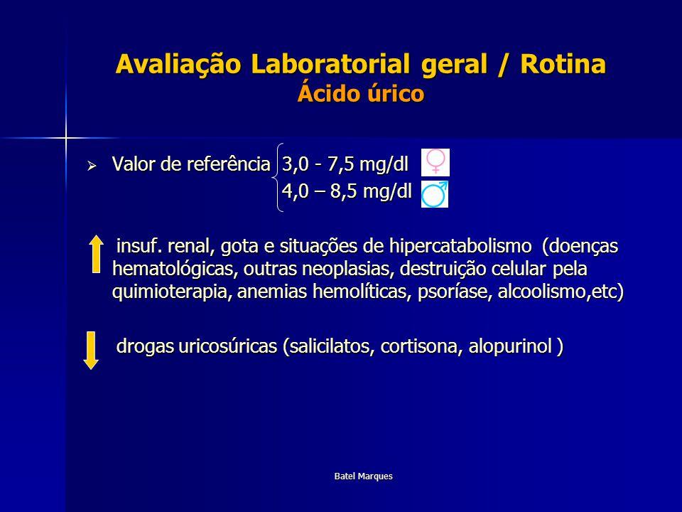 Batel Marques Avaliação Laboratorial geral / Rotina Ácido úrico Valor de referência 3,0 - 7,5 mg/dl Valor de referência 3,0 - 7,5 mg/dl 4,0 – 8,5 mg/d