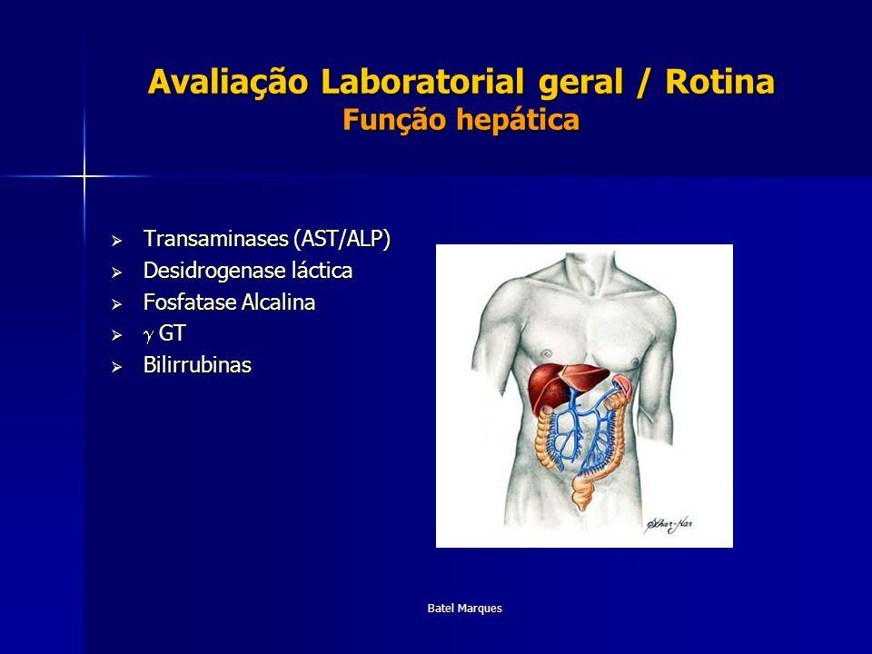 Batel Marques Avaliação Laboratorial geral / Rotina Função hepática Transaminases (AST/ALP) Transaminases (AST/ALP) Desidrogenase láctica Desidrogenas