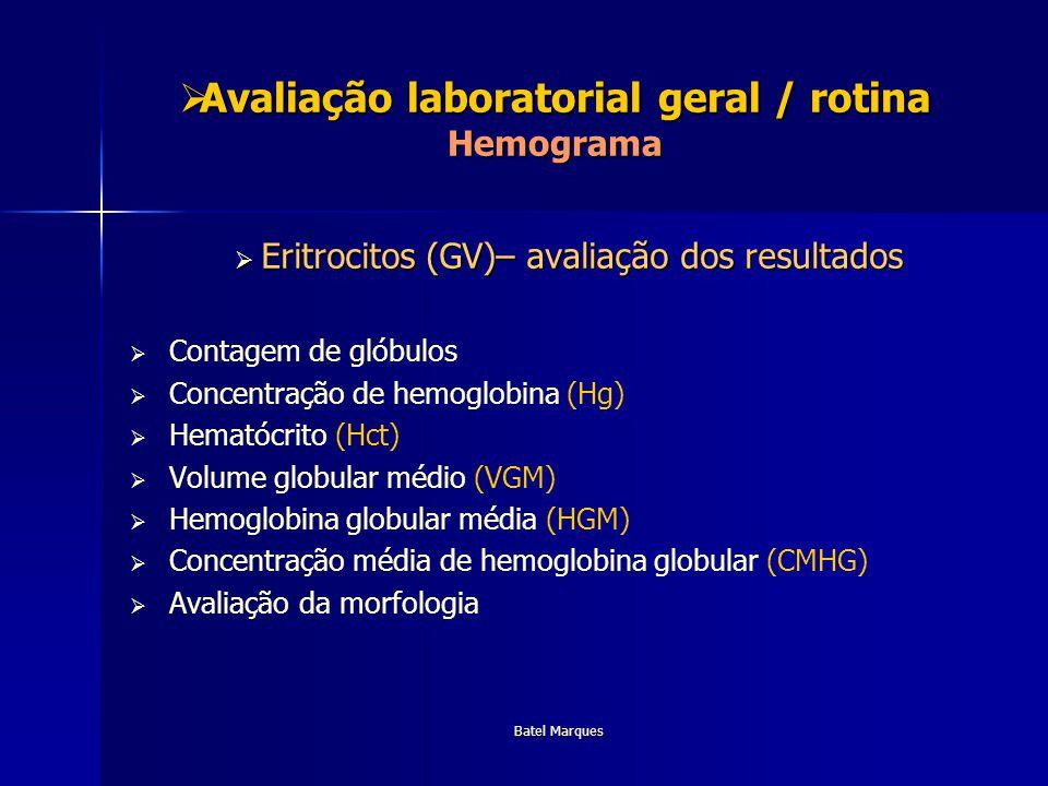 Batel Marques Avaliação laboratorial geral / rotina Hemograma Avaliação laboratorial geral / rotina Hemograma Eritrocitos (GV)– avaliação dos resultad
