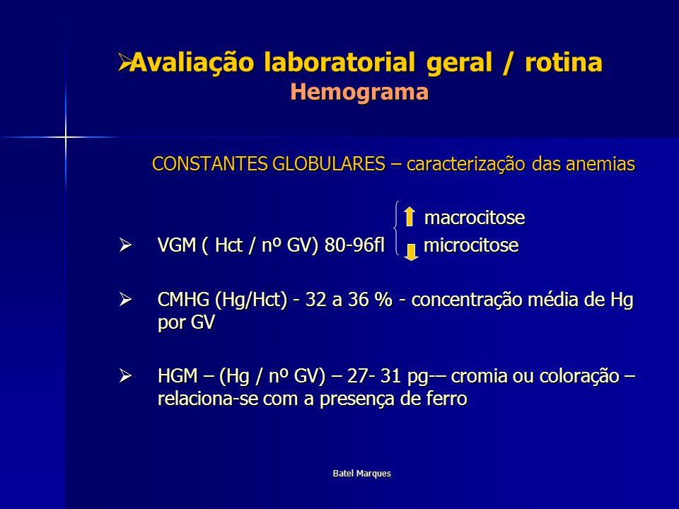 Batel Marques Avaliação Laboratorial geral / Rotina Função hepática Transaminases (AST/ALP) Transaminases (AST/ALP) Desidrogenase láctica Desidrogenase láctica Fosfatase Alcalina Fosfatase Alcalina GT GT Bilirrubinas Bilirrubinas