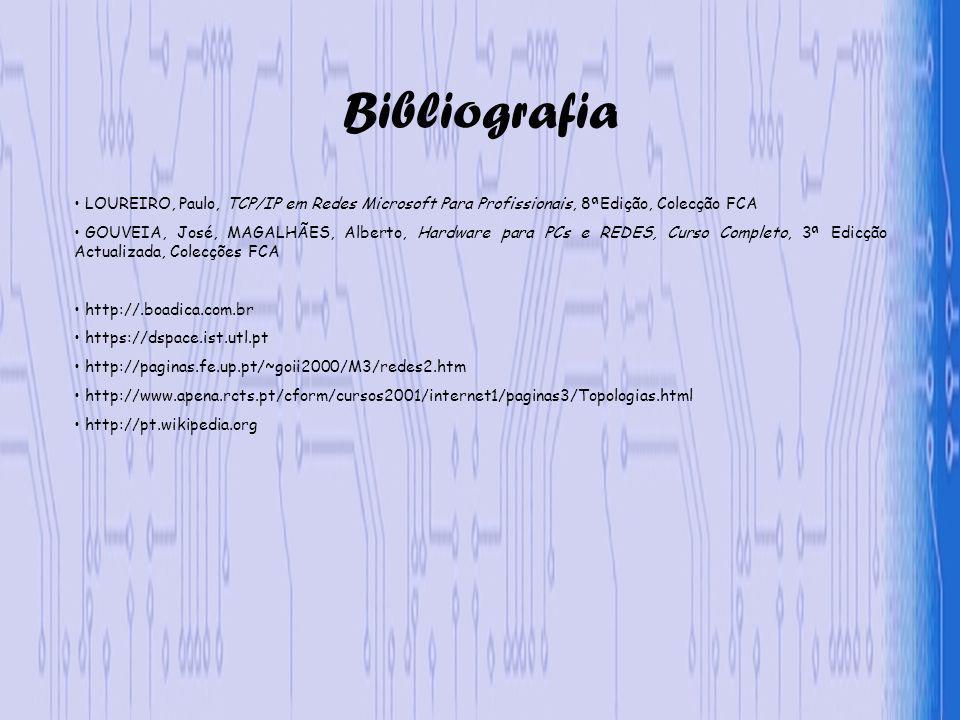 Bibliografia LOUREIRO, Paulo, TCP/IP em Redes Microsoft Para Profissionais, 8ªEdição, Colecção FCA GOUVEIA, José, MAGALHÃES, Alberto, Hardware para PCs e REDES, Curso Completo, 3ª Edicção Actualizada, Colecções FCA http://.boadica.com.br https://dspace.ist.utl.pt http://paginas.fe.up.pt/~goii2000/M3/redes2.htm http://www.apena.rcts.pt/cform/cursos2001/internet1/paginas3/Topologias.html http://pt.wikipedia.org