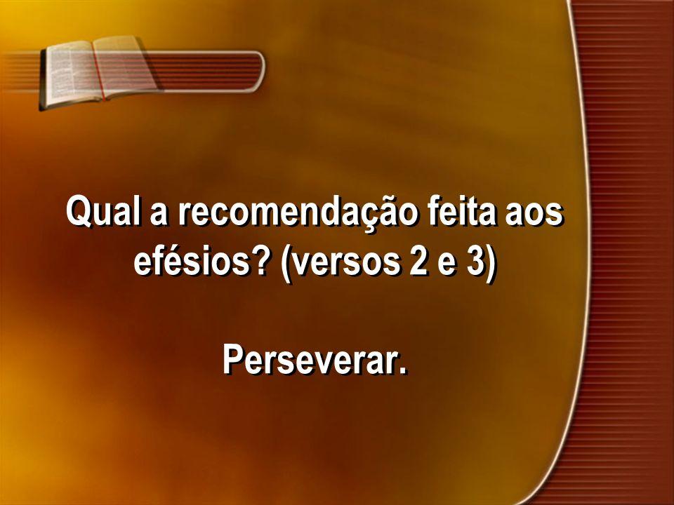 Qual a recomendação feita aos efésios? (versos 2 e 3) Perseverar.