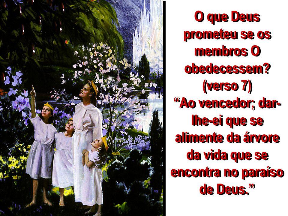 O que Deus prometeu se os membros O obedecessem? (verso 7) Ao vencedor; dar- lhe-ei que se alimente da árvore da vida que se encontra no paraíso de De