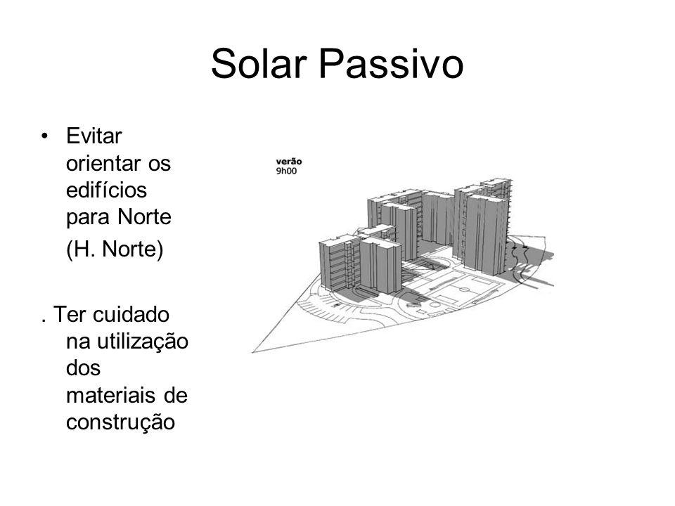 Solar Passivo Evitar orientar os edifícios para Norte (H. Norte). Ter cuidado na utilização dos materiais de construção