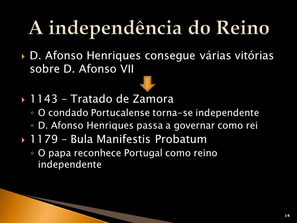 14 D. Afonso Henriques consegue várias vitórias sobre D. Afonso VII 1143 – Tratado de Zamora O condado Portucalense torna-se independente D. Afonso He