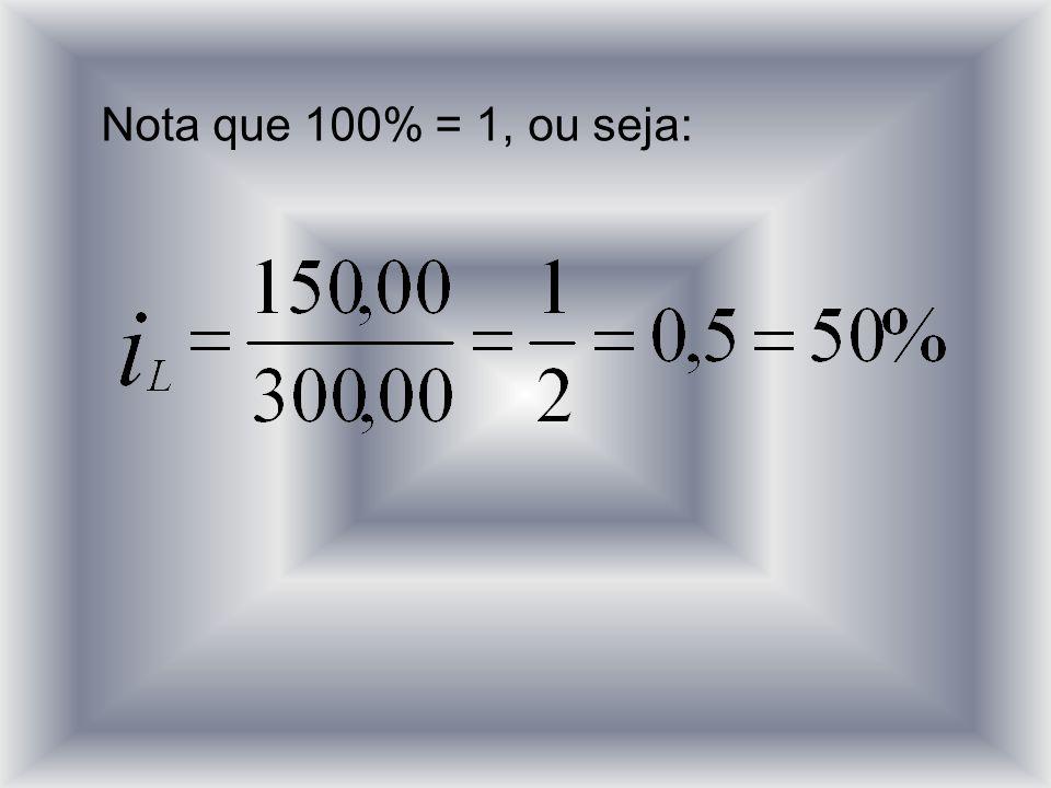 Nota que 100% = 1, ou seja: