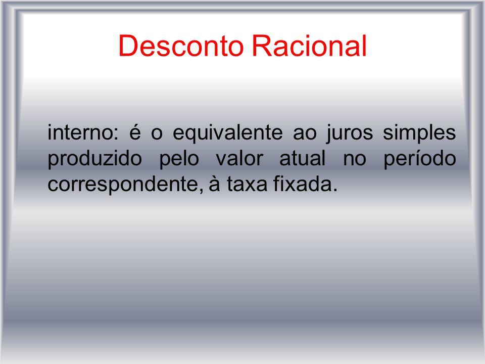 Desconto Racional interno: é o equivalente ao juros simples produzido pelo valor atual no período correspondente, à taxa fixada.