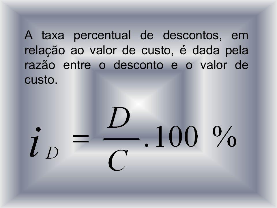 A taxa percentual de descontos, em relação ao valor de custo, é dada pela razão entre o desconto e o valor de custo.