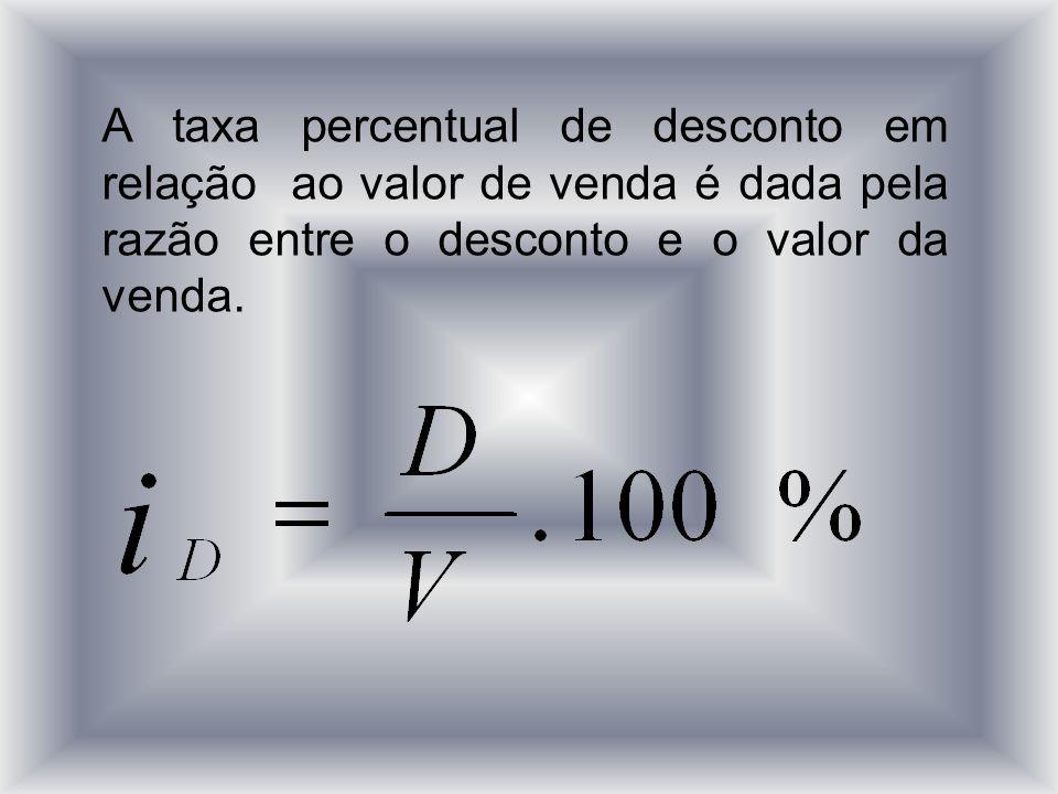 A taxa percentual de desconto em relação ao valor de venda é dada pela razão entre o desconto e o valor da venda.