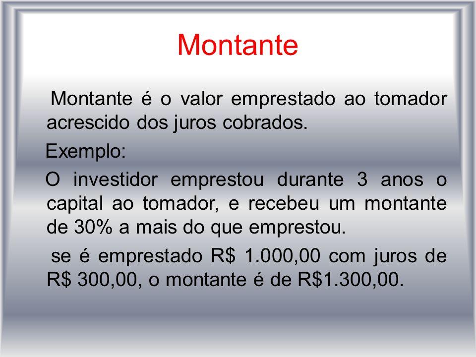 Montante Montante é o valor emprestado ao tomador acrescido dos juros cobrados. Exemplo: O investidor emprestou durante 3 anos o capital ao tomador, e