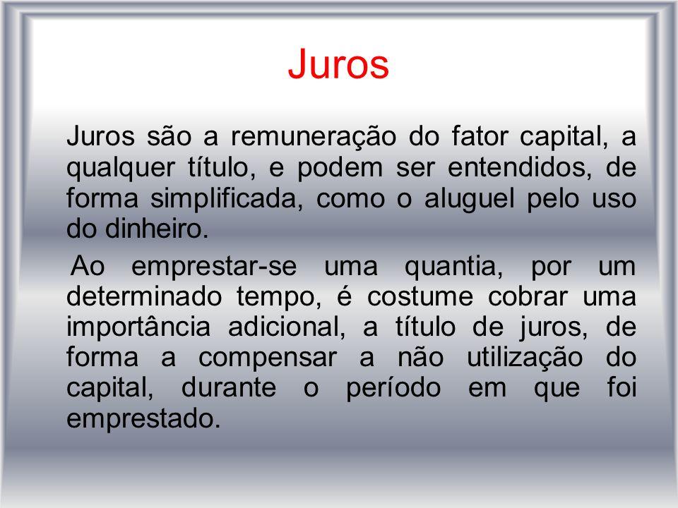 Juros Juros são a remuneração do fator capital, a qualquer título, e podem ser entendidos, de forma simplificada, como o aluguel pelo uso do dinheiro.