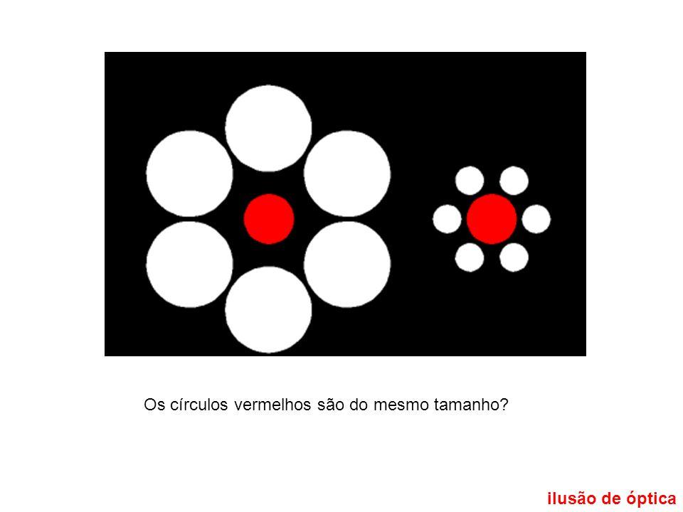 ilusão de óptica Os círculos vermelhos são do mesmo tamanho?