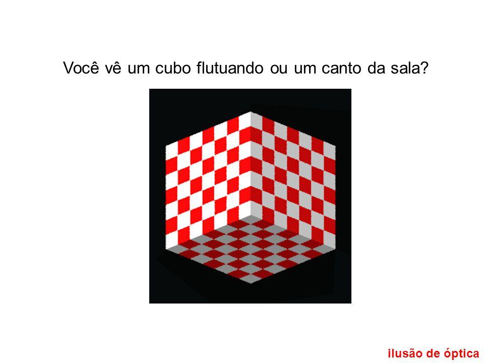 ilusão de óptica Você vê um cubo flutuando ou um canto da sala?