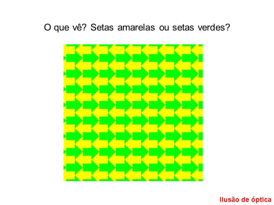 ilusão de óptica O que vê? Setas amarelas ou setas verdes?