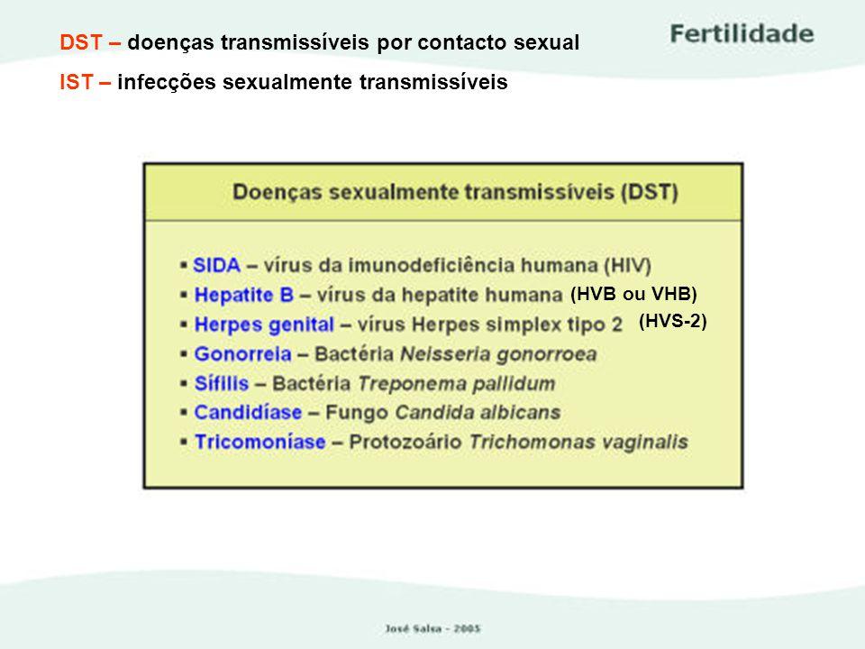 DST – doenças transmissíveis por contacto sexual IST – infecções sexualmente transmissíveis (HVB ou VHB) (HVS-2)