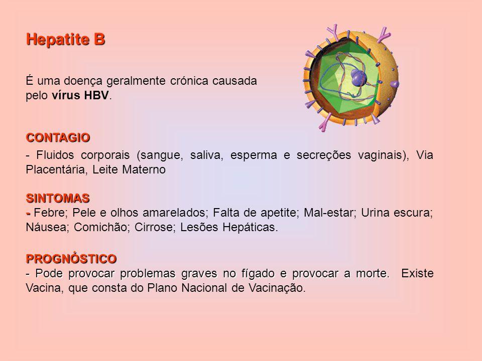 Hepatite B CONTAGIO - Fluidos corporais (sangue, saliva, esperma e secreções vaginais), Via Placentária, Leite MaternoSINTOMAS - - Febre; Pele e olhos amarelados; Falta de apetite; Mal-estar; Urina escura; Náusea; Comichão; Cirrose; Lesões Hepáticas.PROGNÓSTICO - Pode provocar problemas graves no fígado e provocar a morte.