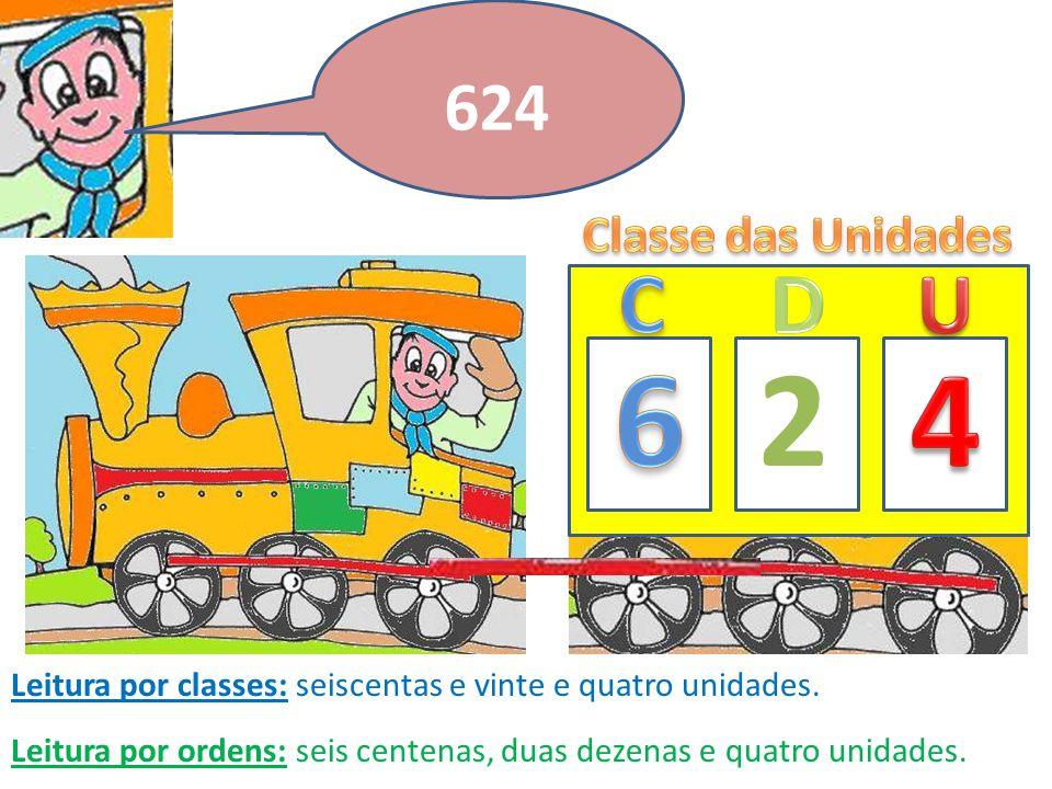 Agora o número 9174 7 Leitura por classes: nove milhares, cento e setenta e quatro unidades.
