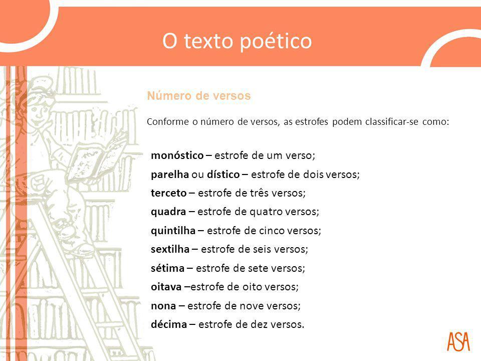 Número de versos Conforme o número de versos, as estrofes podem classificar-se como: monóstico – estrofe de um verso; parelha ou dístico – estrofe de