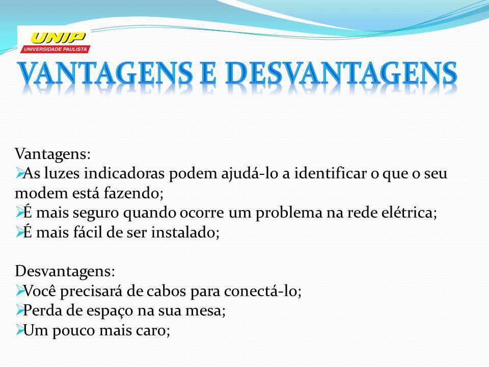 Vantagens: As luzes indicadoras podem ajudá-lo a identificar o que o seu modem está fazendo; É mais seguro quando ocorre um problema na rede elétrica;