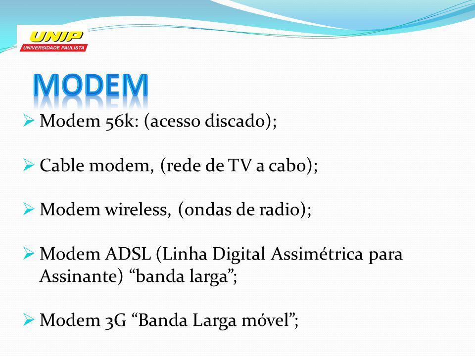 Modem 56k: (acesso discado); Cable modem, (rede de TV a cabo); Modem wireless, (ondas de radio); Modem ADSL (Linha Digital Assimétrica para Assinante)