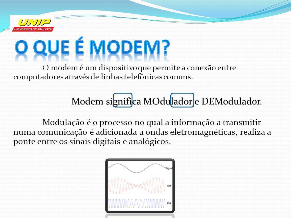 O modem é um dispositivo que permite a conexão entre computadores através de linhas telefônicas comuns. Modem significa MOdulador e DEModulador. Modul
