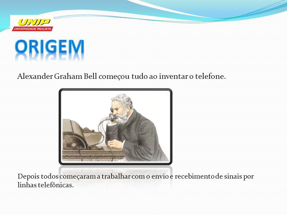 Alexander Graham Bell começou tudo ao inventar o telefone. Depois todos começaram a trabalhar com o envio e recebimento de sinais por linhas telefônic