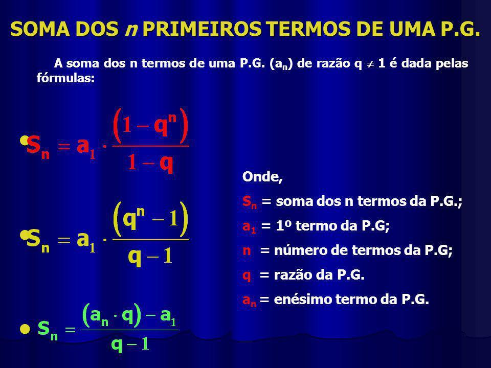 SOMA DOS PRIMEIROS TERMOS DE UMA P.G.SOMA DOS n PRIMEIROS TERMOS DE UMA P.G.