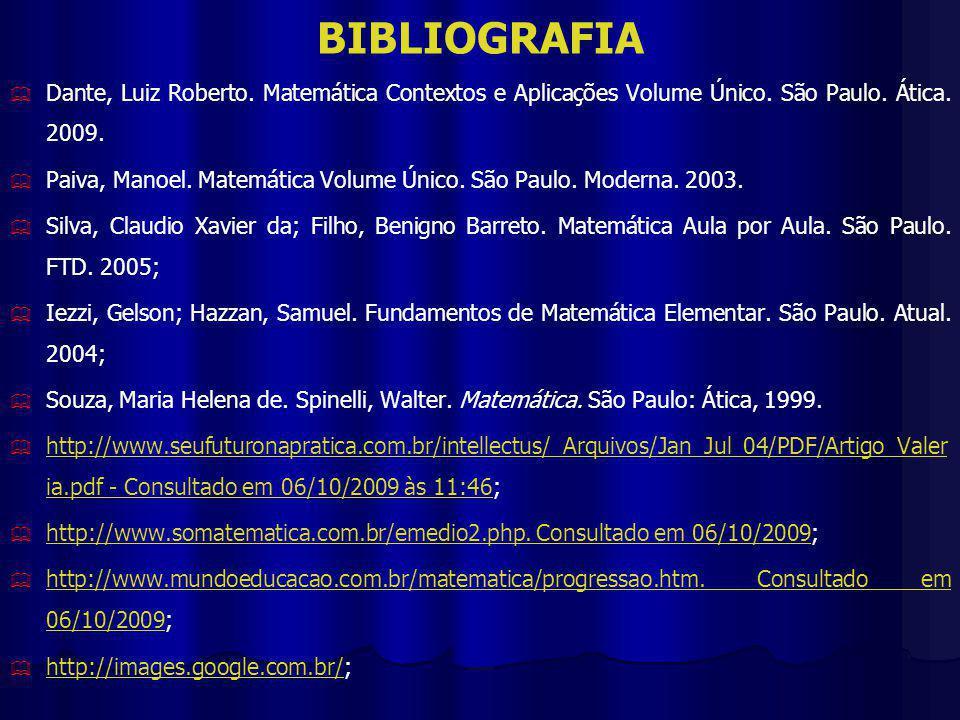 BIBLIOGRAFIA Dante, Luiz Roberto.Matemática Contextos e Aplicações Volume Único.