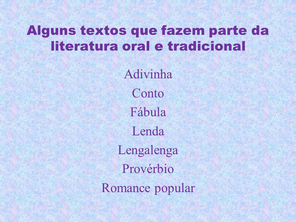 Alguns textos que fazem parte da literatura oral e tradicional Adivinha Conto Fábula Lenda Lengalenga Provérbio Romance popular