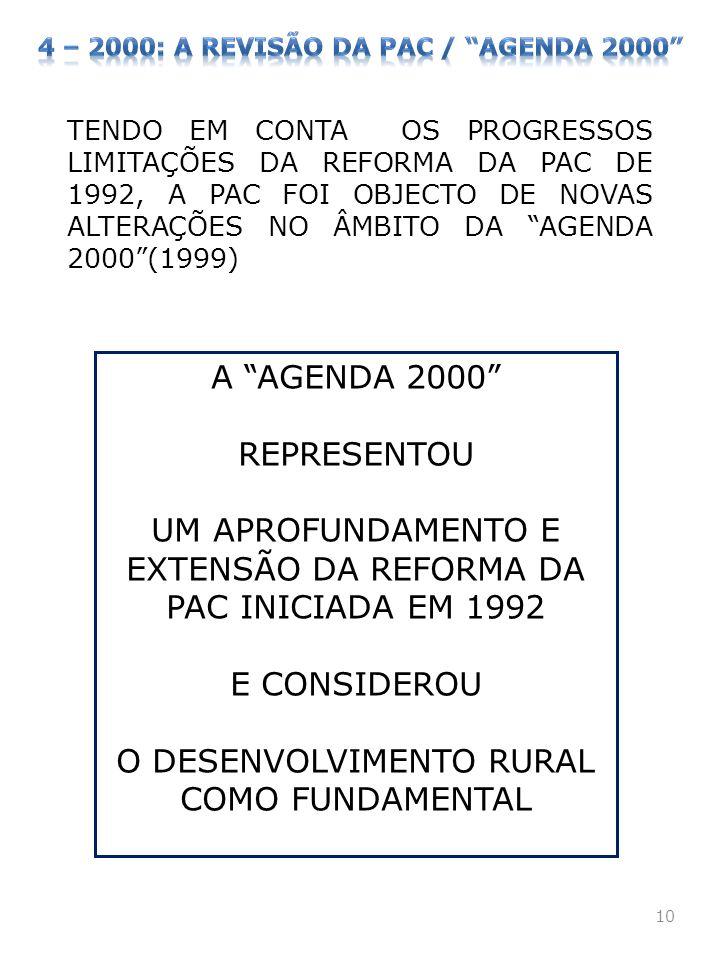 10 TENDO EM CONTA OS PROGRESSOS LIMITAÇÕES DA REFORMA DA PAC DE 1992, A PAC FOI OBJECTO DE NOVAS ALTERAÇÕES NO ÂMBITO DA AGENDA 2000(1999) A AGENDA 20