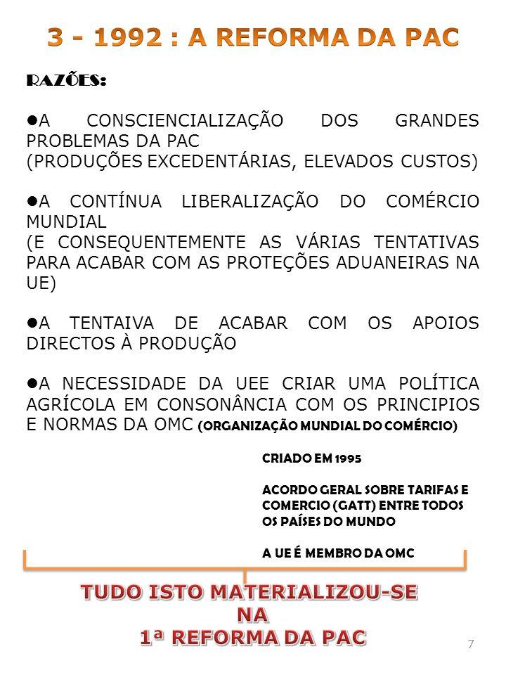 RAZÕES: A CONSCIENCIALIZAÇÃO DOS GRANDES PROBLEMAS DA PAC (PRODUÇÕES EXCEDENTÁRIAS, ELEVADOS CUSTOS) A CONTÍNUA LIBERALIZAÇÃO DO COMÉRCIO MUNDIAL (E C