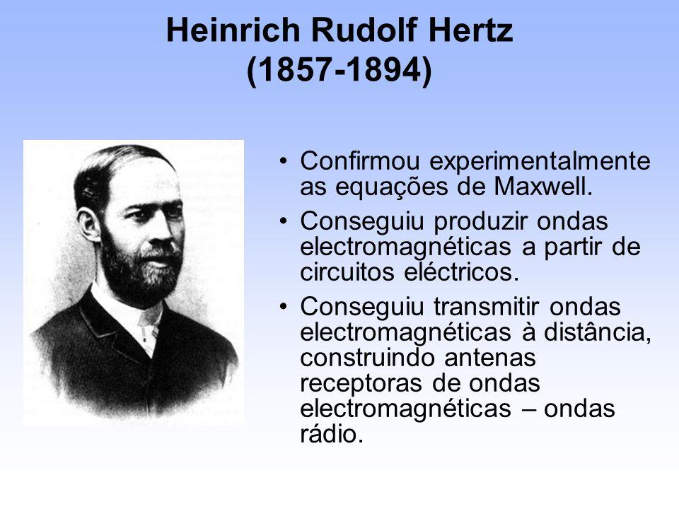 Heinrich Rudolf Hertz (1857-1894) Confirmou experimentalmente as equações de Maxwell. Conseguiu produzir ondas electromagnéticas a partir de circuitos