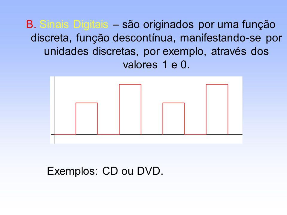 B. Sinais Digitais – são originados por uma função discreta, função descontínua, manifestando-se por unidades discretas, por exemplo, através dos valo