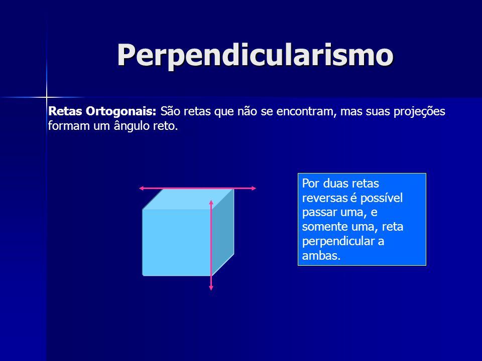 Perpendicularismo Retas Ortogonais: São retas que não se encontram, mas suas projeções formam um ângulo reto. Por duas retas reversas é possível passa