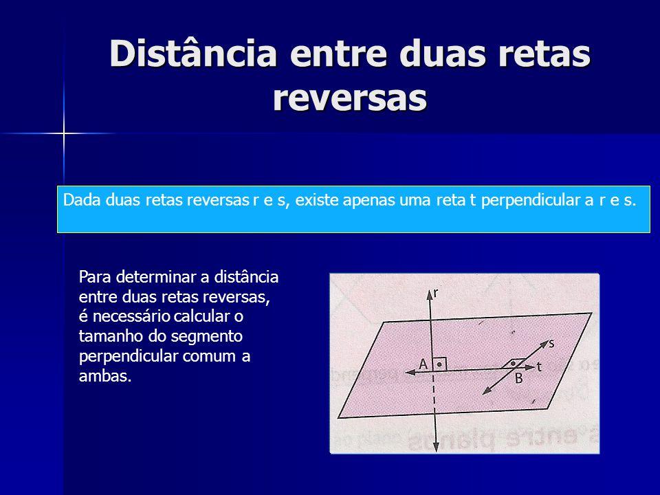Distância entre duas retas reversas Dada duas retas reversas r e s, existe apenas uma reta t perpendicular a r e s. Para determinar a distância entre