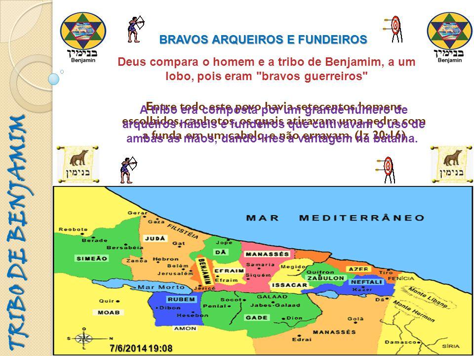 TRIBO DE BENJAMIM 7/6/2014 19:097/6/2014 19:09 BRAVOS ARQUEIROS E FUNDEIROS Deus compara o homem e a tribo de Benjamim, a um lobo, pois eram