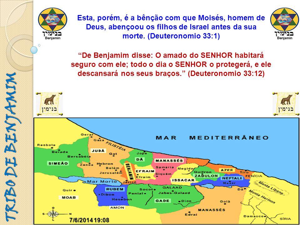 TRIBO DE BENJAMIM 7/6/2014 19:097/6/2014 19:09 De Benjamim disse: O amado do SENHOR habitará seguro com ele; todo o dia o SENHOR o protegerá, e ele de