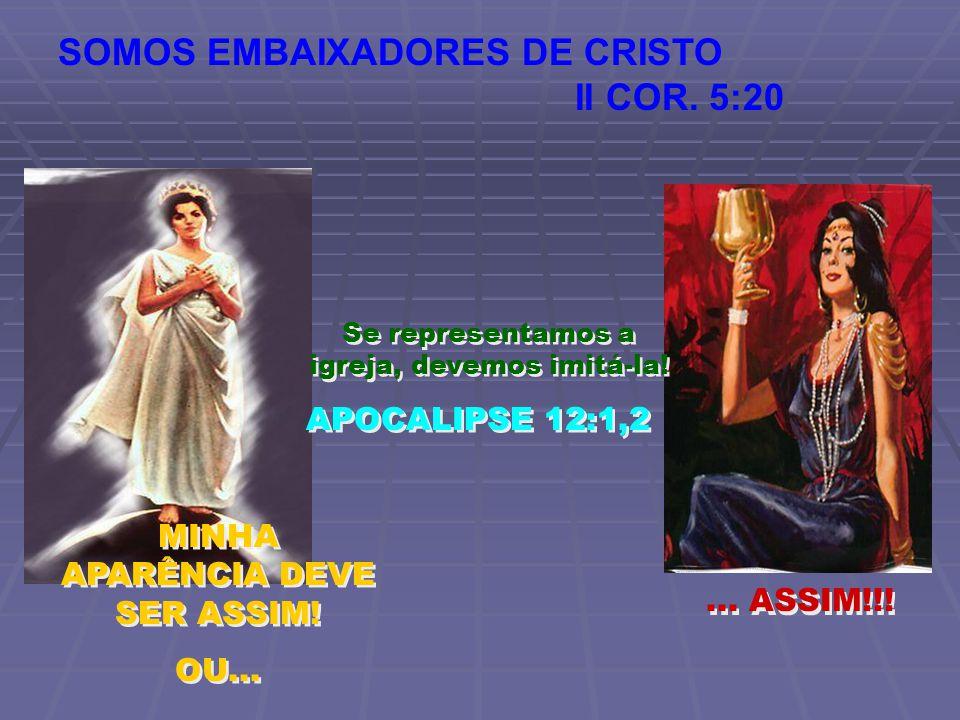 MINHA APARÊNCIA DEVE SER ASSIM! OU... MINHA APARÊNCIA DEVE SER ASSIM! OU...... ASSIM!!! SOMOS EMBAIXADORES DE CRISTO II COR. 5:20 Se representamos a i