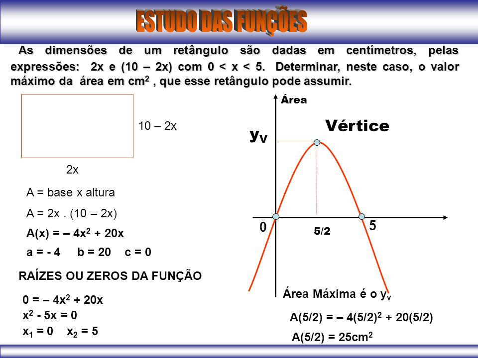 As dimensões de um retângulo são dadas em centímetros, pelas expressões: 2x e (10 – 2x) com 0 < x < 5. Determinar, neste caso, o valor máximo da área