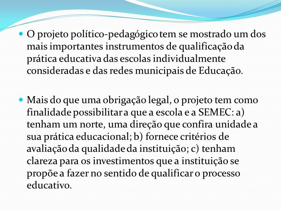 O projeto político-pedagógico tem se mostrado um dos mais importantes instrumentos de qualificação da prática educativa das escolas individualmente consideradas e das redes municipais de Educação.