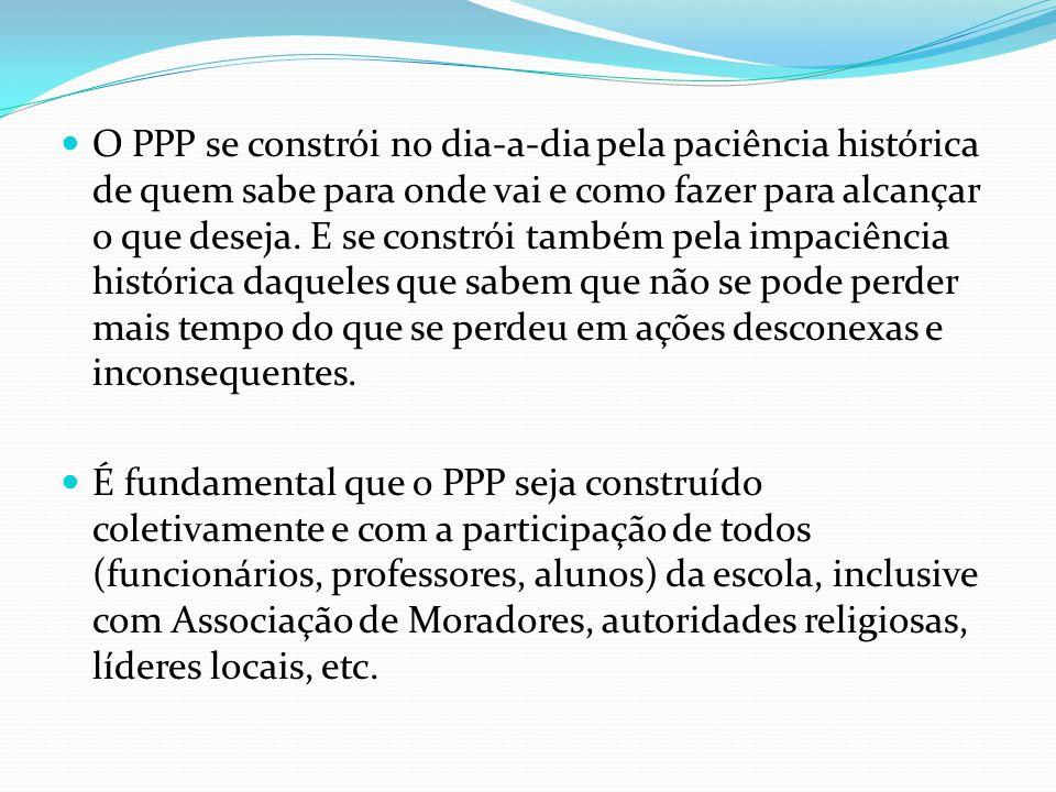 O PPP se constrói no dia-a-dia pela paciência histórica de quem sabe para onde vai e como fazer para alcançar o que deseja.